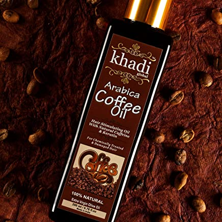 Khadi Global Arabica Coffee Hair Stimulating Oil Infused With Powerful Broccoli Seed Oil With Natural Caffeine & Keratin Oil Formulated in Extra Virgin Olive Oil, 200 ml