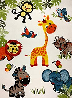 """KC Cubs Boy and Girl Bedroom Modern Decor Area Rug and Carpet Collection For Kids and Children Happy Animal Nursery Friends (3' 11"""" x 5' 3"""")"""