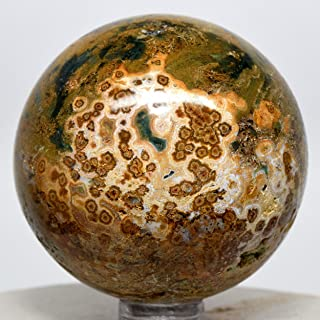 53mm Ocean Jasper Sphere Green Yellow Natural Orbicular Orbs Crystal Polished Mineral Gemstone Ball - Madagascar + Stand