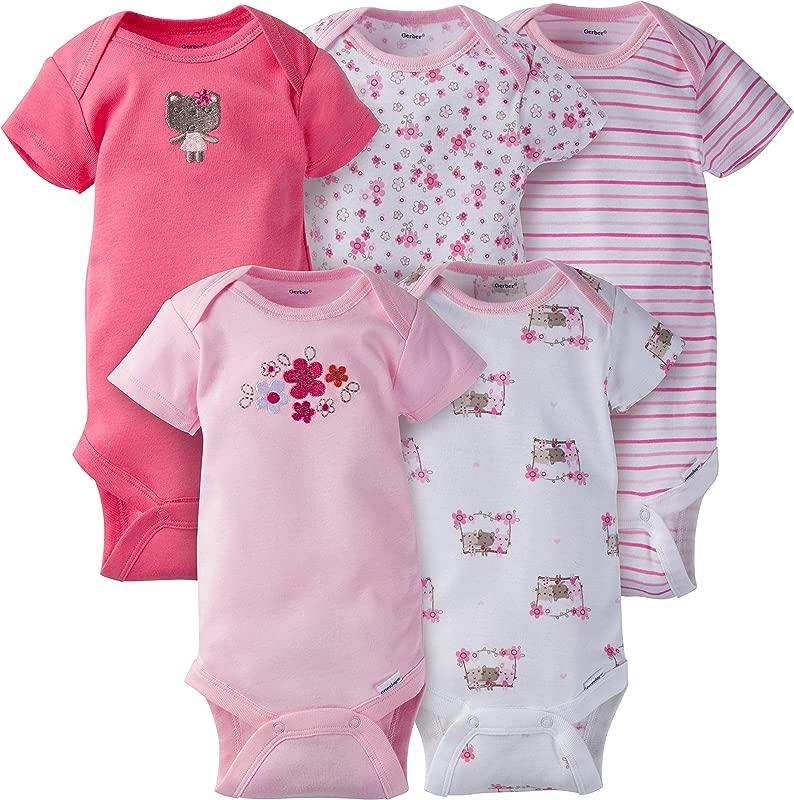 Gerber Baby Girls 5 Pack Variety Onesies Bodysuits Little Pink Flowers 0 3 Months