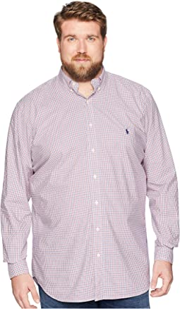 Big & Tall Poplin Button Down Pony Player Long Sleeve Sport Shirt
