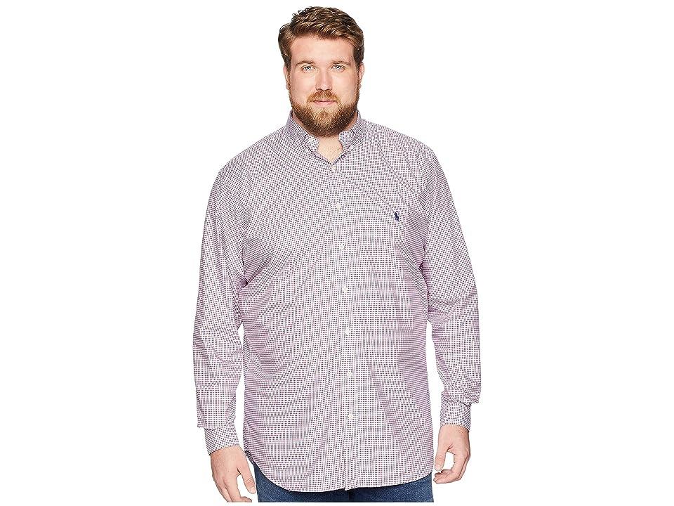 Polo Ralph Lauren Big & Tall Big Tall Poplin Button Down Pony Player Long Sleeve Sport Shirt (Red/Blue Multi) Men