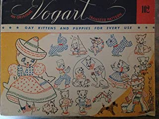 Vintage Vogart 102 Embroidery Paper Wax Transfer Pattern Cats Kittens Dogs Sombrero Serape Airedale Terrier Doghouse