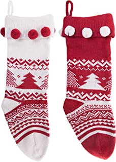Knitted Christmas Stockings Traditional Holiday Season Santa Socks Classic Sweater Tree Pattern Scandinavian Decoration for Mantel & Staircase Gift Holder in White & Red Colors with - Set of 2