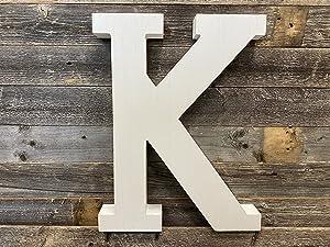 Large Wood Letter |Distressed White Wash | Alphabet Wall Décor | Monogram Letter | Alphabet Letters | Free Standing Letters | Wall Letters | Letter K