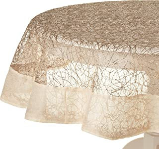 Violet Linen Crown Mesh Lace with Border Design, Polyester Tablecloths, 65