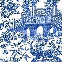 Entertaining with Caspari Set of 2 Chinoiserie Toile Bridge Lunch Napkins, Blue, 40 Napkins Total