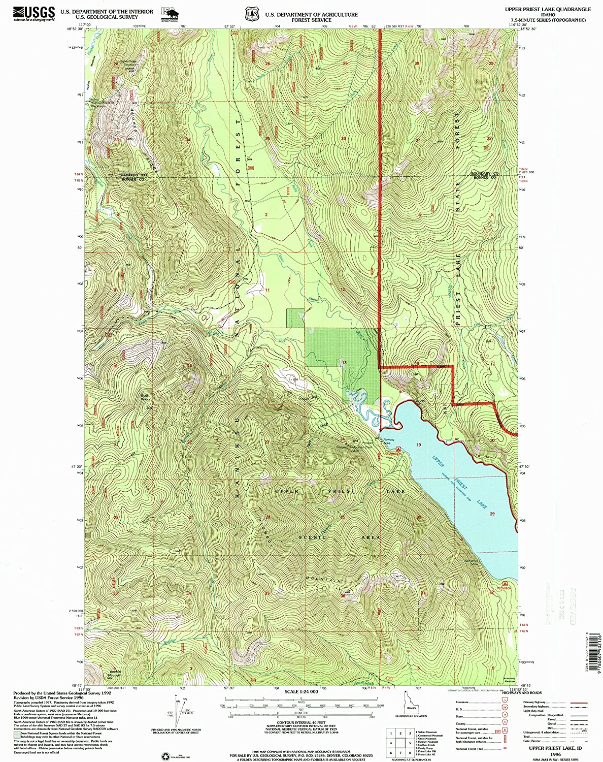 Upper Priest Lake ID topo map, 1 24000 Scale, 7.5 X 7.5 Minute, Historical, 1996, Updated 1999, 26.8 x 22 in