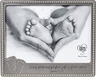 Precious Moments Every Good And Perfect Gift Is From Above Baby Footprints Zinc Alloy 5x7 Photo Frame, 172415