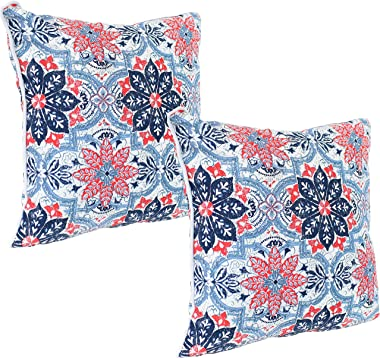 Sunnydaze Set of 2 Indoor/Outdoor Decorative Throw Pillows - 16-Inch Square Accent Toss Pillows for Patio Furniture - Pillow
