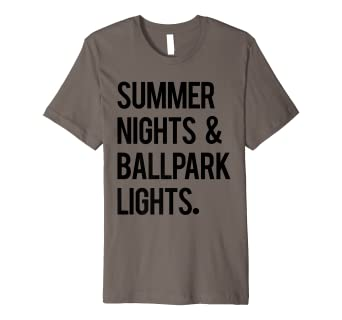 e4e878a21467 Image Unavailable. Image not available for. Color  Summer Nights   Ballpark  Lights Baseball Tee Men ...