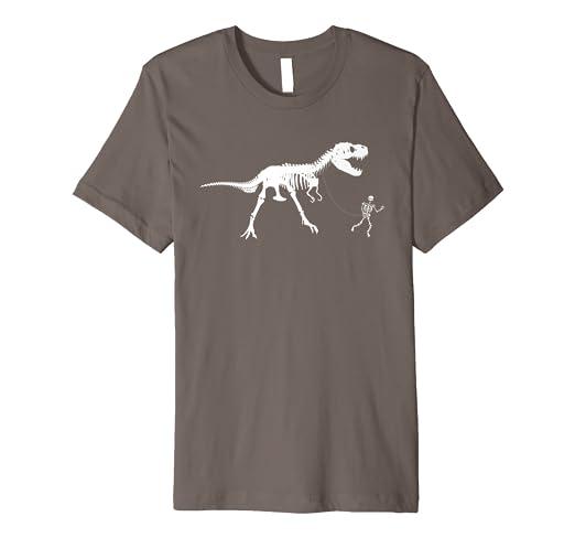 0a9c061c5 Amazon.com: Cute Unique Walking With T-Rex Skeleton Shirt T-shirt ...