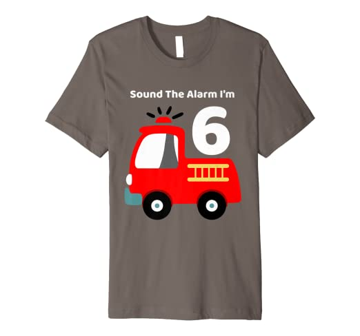 Image Unavailable Not Available For Color Fire Fighter Truck 6 Year Old Birthday Shirt