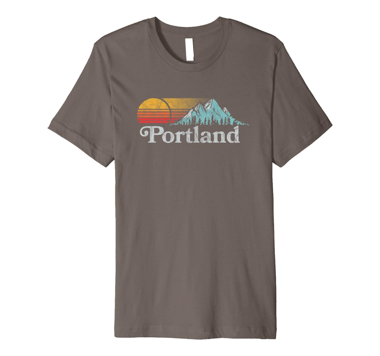Portland, Oregon Vintage Mountain Sunset 80s Retro Shirts