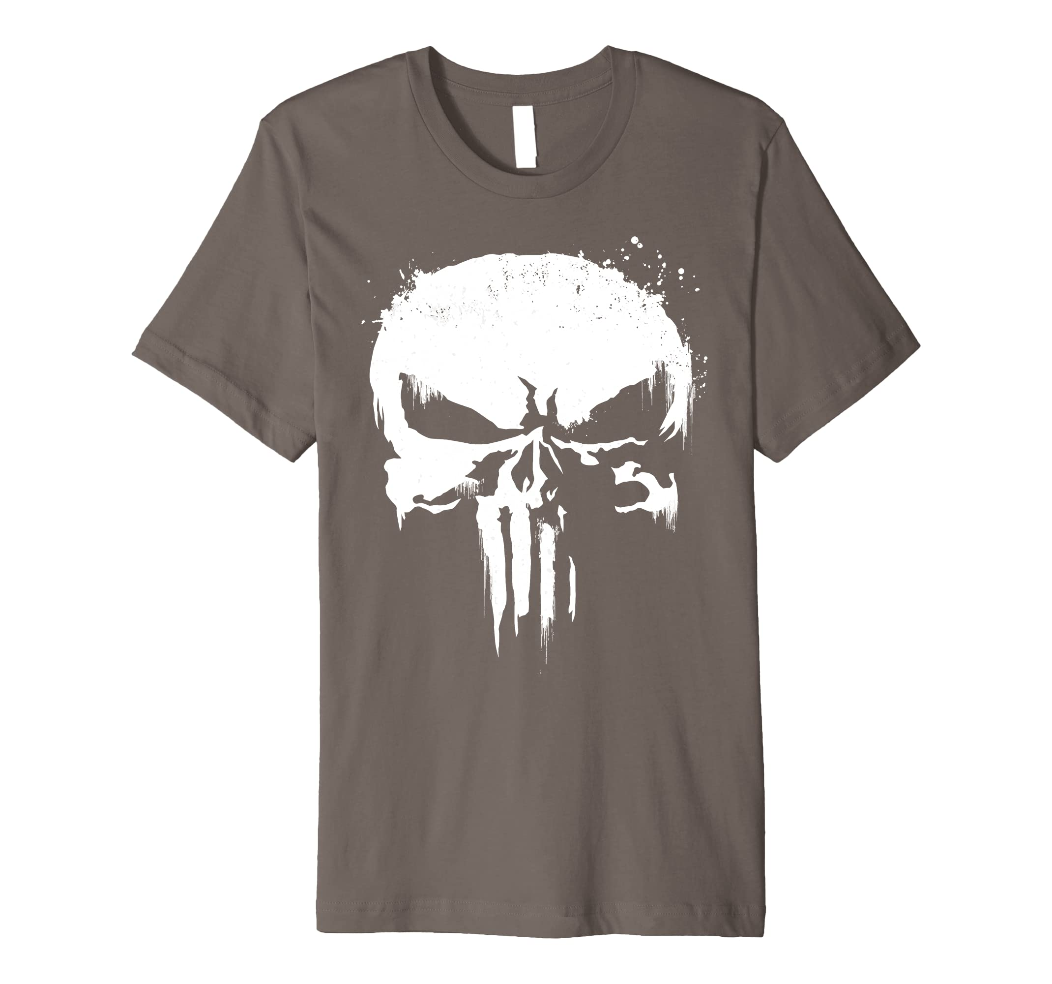 308655793d4d8 Amazon.com  Marvel Punisher White Paint Splatter Skull Premium T-Shirt   Clothing
