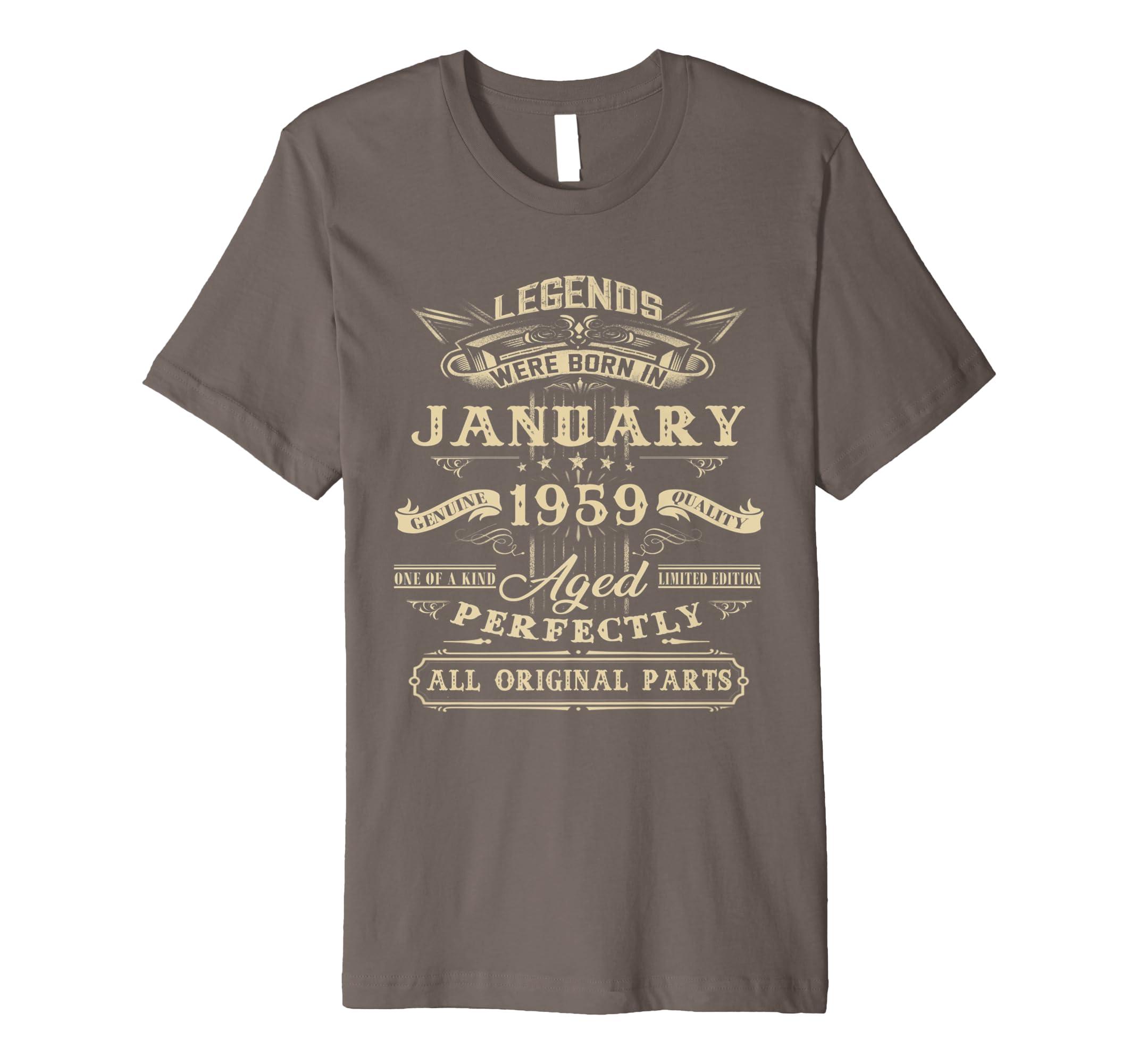 Amazon Legends Born January 1959 Vintage 60th Birthday Shirt Gift Clothing