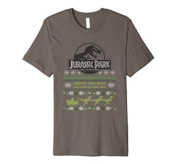 Amazoncom Jurassic Park Merry Rex Mas Ugly Sweater Premium T Shirt