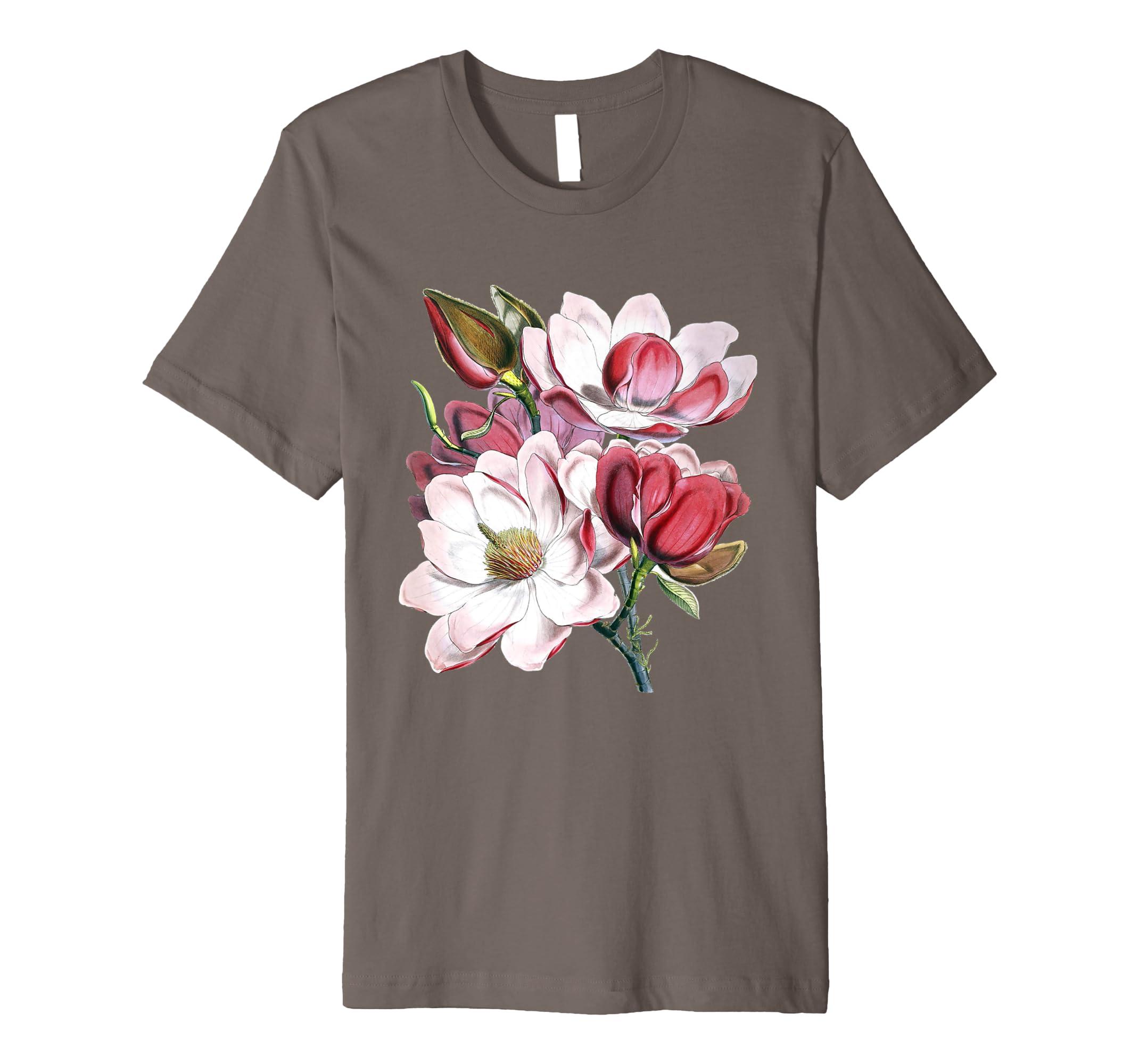 Amazoncom Cool Vintage Magnolia Flower T Shirt Floral