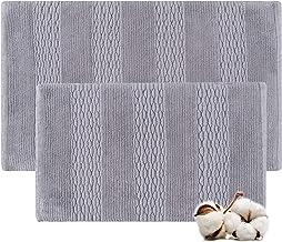 Cotton Bath Rugs Water Absorbent Stripe Design Bathmat Set of 2 (Size 17x24/17x24 Color Grey)