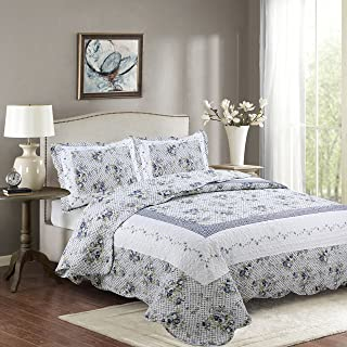Fancy Collection 3pc Full/Queen Bedspread Bed Cover Floral White Blue Green Reversible New # Nina