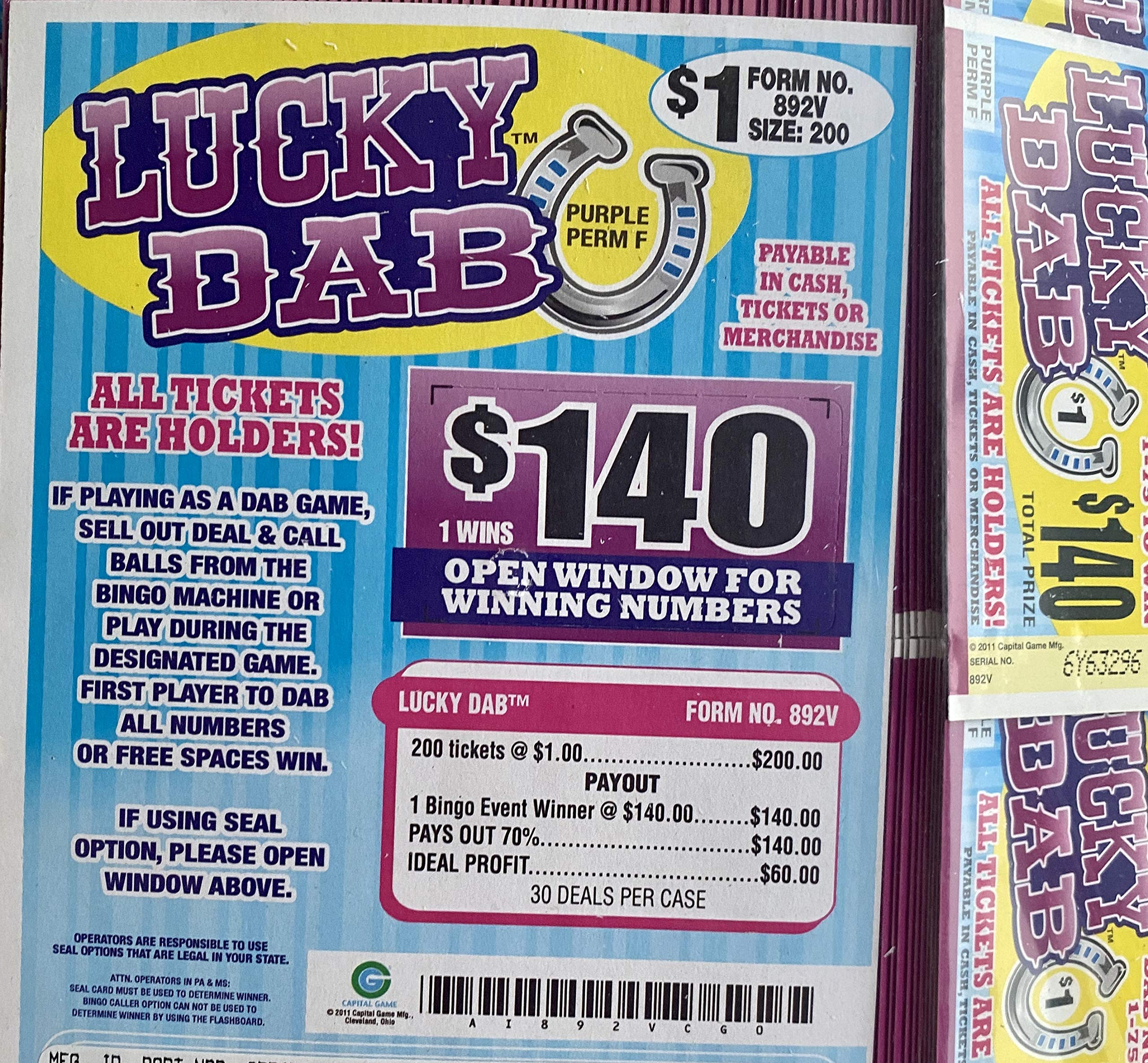Luckies $100 Bingo Pull Tab Event Game All Tickets Playable