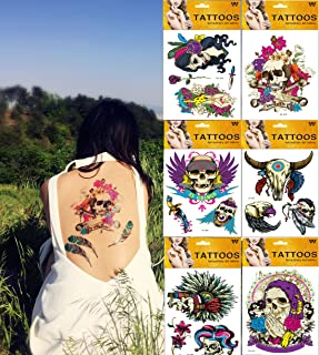 Large Metallic Temporary Tattoos 6 Sheet Indian Exotic Arm Back Flash Tattoos for Halloween Party Body Glitter Tattoo kit