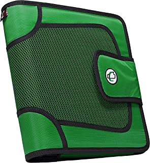 Case-it Open Tab Velcro Closure 2-Inch Binder with 5-Color Tabbed Expanding File, Kelly Green