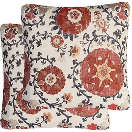 Amazon Com Mika Home Pack Of 2 Jacquard Circle Floral Throw Pillow Shell Vintage Cushion Cover For 20x20 Inserts Cream Red Home Kitchen