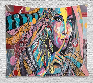 Ambesonne Modern Art Tapestry, Fine Art Illustration Girl with Dreamcatcher and Murky Oriental Bohemian Paint, Wide Wall Hanging for Bedroom Living Room Dorm, 80