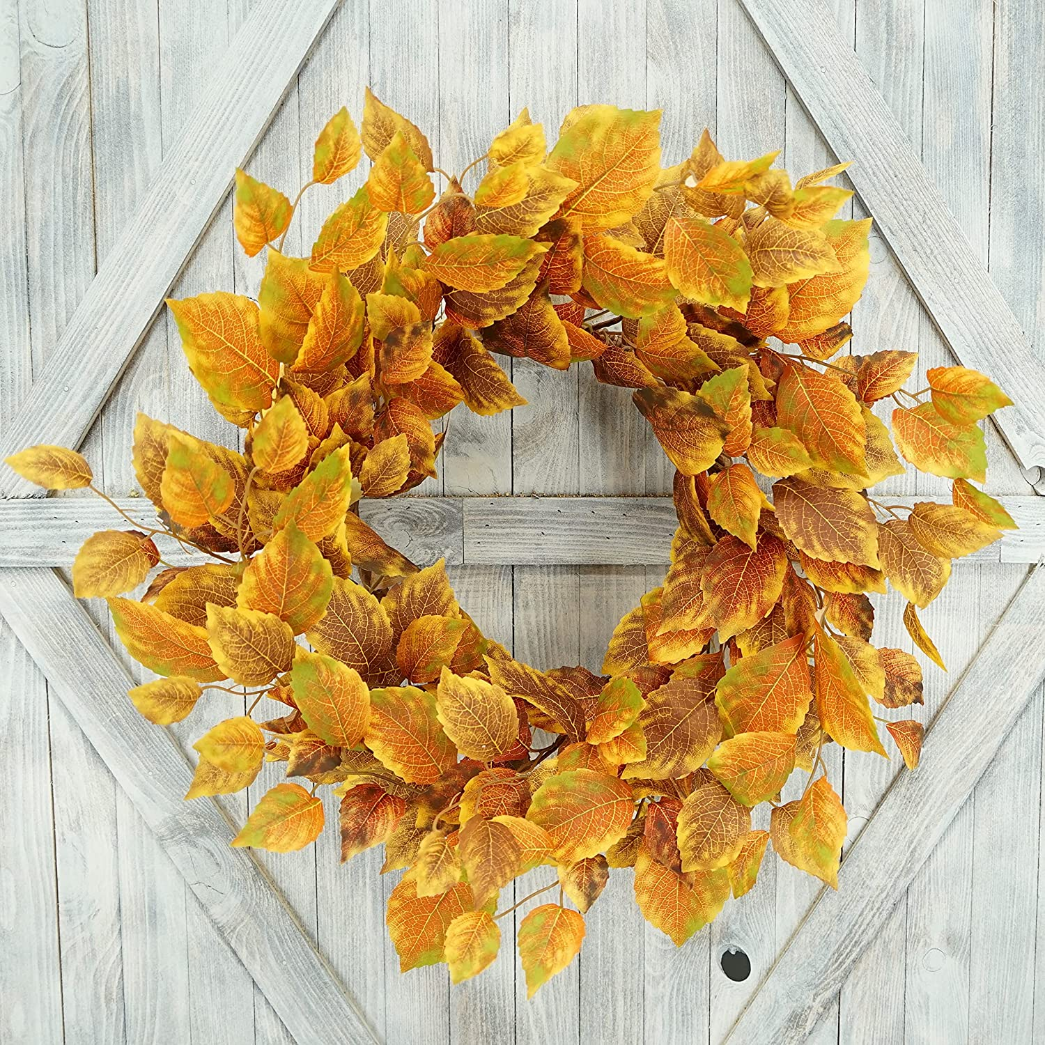 AMF0RESJ Artificial Fall Wreath for Front Door Autumn Door Wreath Harvest Wreath 20 inches with Orange and Rusty Birch Leaves for Indoor Outdoor Farmhouse Home Wall Window Festival Wedding Decor