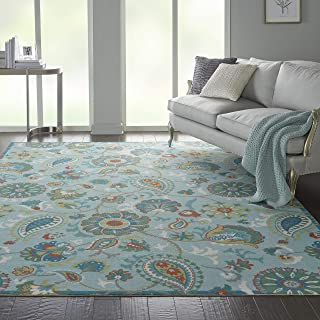 Waverly Sun N Shade Indoor-Outdoor Floral Light Blue Oversized 7'9