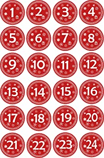 INDIGOS UG - Advent Calendar Numbers Stickers 1 to 24 / red Vintage/Labels/Stickers/Christmas Calendar/Advent/Round/DIY/to Stick on