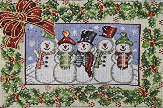 PRAKARTIK BY INDUARTS 100% Cotton Jacquard Fabric Machine Washable Snowman Winter Wear with Christmas Tree Home Holiday Theme Placemats for Everyday Use (White, Red and Green) -Set of 4