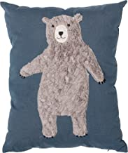 Bloomingville Blue Cotton Pillow with Bear, 16 x 20