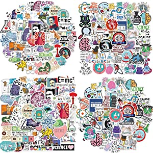 Science Stickers Pack, 100PCS Removable Waterproof Vinyl Stickers for Laptop, Notebook, Water Bottle, Cups, Tablet, Chemistry Labs Graffiti Stickers for Students, Teens (Science School)