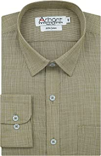 Arihant Pin Checks 100% Cotton Full Sleeves Regular Fit Formal Shirt for Men