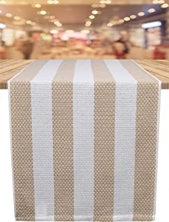 Ramanta Home Veronica Stripe Cotton Table Runner for Family Dinners or Gatherings, Indoor or Outdoor Parties & Everyday Use, Wedding Table Runner, Easy Care, 16x72 Linen Stripes 2 Pack