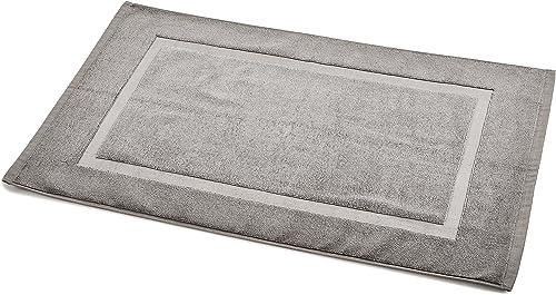 Amazon Basics - Alfombra de baño con franja, color gris claro, 50.8 x 78.7 cm