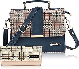 FIESTO FASHION PU Leather Latest Trendy Fashion Ladies Dark Blue Color Handbag With Clutch Bag & Combo 2pcs Purse Set