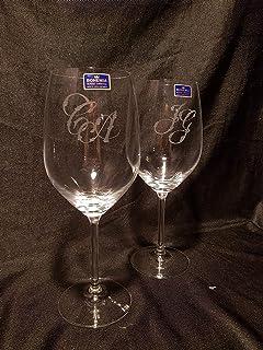 Copas Bohemia Vino Talladas a Mano con Estuche de lujo.(mod. Gastro Nombres o Iniciales)