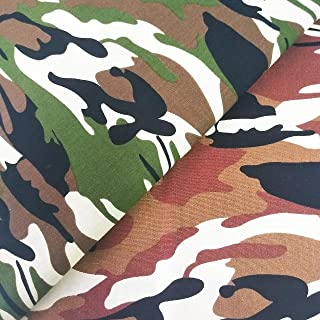 """ZAIONE 2 Yards Green & Coral Camo Camouflage Cotton Fabric Each 36 x 59"""" Sheet 100% Cotton Poplin Fabric by The Yard for S..."""