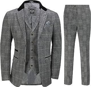 Mens 3 Piece Grey Herringbone Suit Vintage Tweed Navy Check Classic Tailored Fit