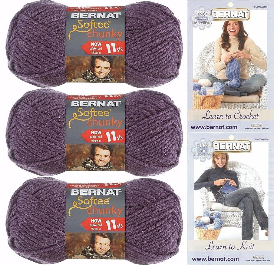 Bernat Softee Chunky Yarn, Super Bulky #6, 3 Skeins Dark Mauve Bundle 28323