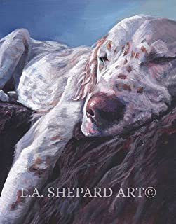 A English Setter dog art portrait print of an LA Shepard painting 11x14