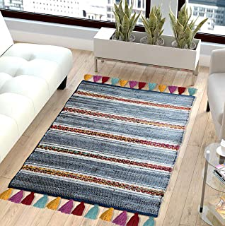 The Home Talk Contemporary Bohemian Indoor Denim Rag Area Rug, Hand Washable, Handmade from Recycled Fabrics and Tassels, Unique for Bedroom, Living Room, Kitchen, Nursery (3'x5', Denim Rag)