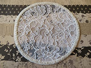 Handmade white lace doily head cover with beautiful trim Veil Kippah Yarmulke (with decorative bobby pin) (Style 226) Elegant Doily Exclusive