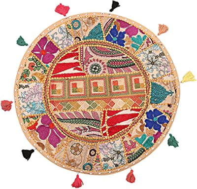Amazon.com: Stylo Culture Round Cotton Indian Floor Cushion ...