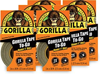 """Gorilla 6100190 Tape, Mini Duct Tape to-Go, 1"""" x 10 yd Travel Size, Black, (Pack of 6)"""