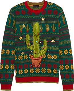 Men's Ugly Christmas Sweater Light UP, Green/Red, Small