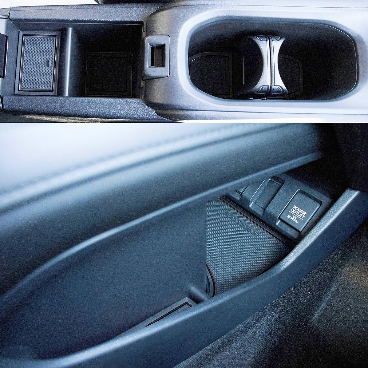 Custom Fit Cup Holder and Door Liner Accessories for 2018 2017 2016 Honda HR-V 18-pc Set (Solid Black)